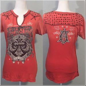 Affliction Women's Rhinestone Embellished T-shirt